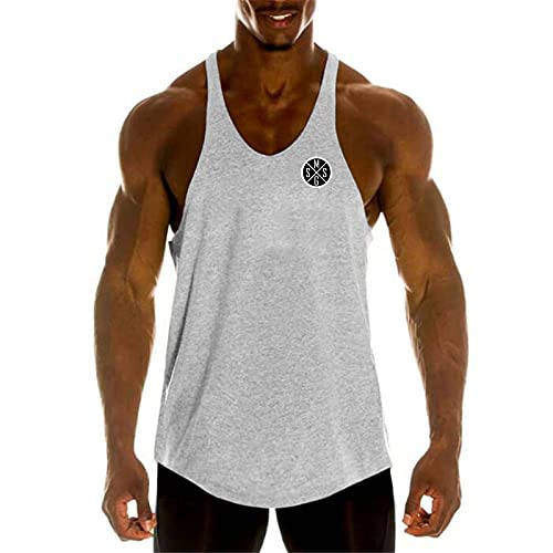 Hong Yi Fei-Shop Gimnasio Entrenamiento para Hombre Camiseta Sin Mangas Muscular Camisa Sin Mangas Culturistas Singlets Fitness Chaleco (Color : White, Size : X-Large)