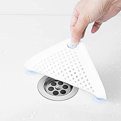 Hair Catcher 3 Pack Square Hair Drain Cover for Shower Silicone Hair Stopper with 12 Detachable Suckers Easy to Install Suit for Bathroom Bathtub Kitchen (2 Grey 1 White)