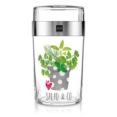 PPD Paperproducts Design Snack 2Go Glass Motiv Salad & Co Salatbecher Müslibecher aus Glas Becher to Go