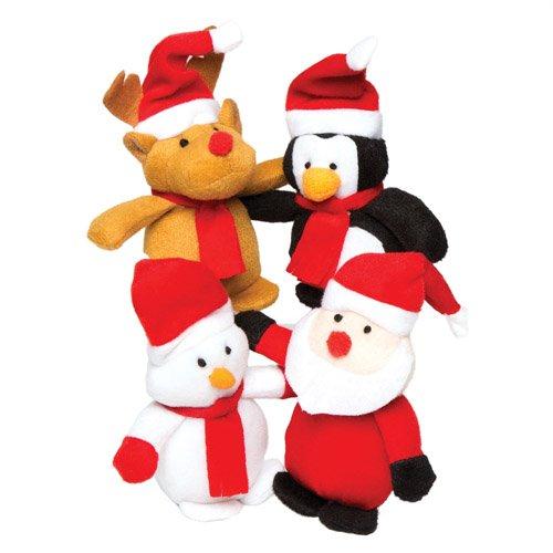 Baker Ross AC252 4 Stück Weihnachtsbean Pals Kuscheltiere für Kinder zum Spielen mit perfekten Strumpf und Partytütenfüller, Sortiert