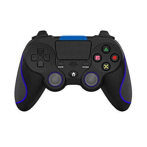 Alvyu Mando PS4, Mando Inalámbrico para PS4, Gamepad Wireless Bluetooth Controlador Controller Joystick con Vibración Doble Remoto Compatible con Playstation 4/PS4 Slim/Pro and PS3/PC,Black + Blue