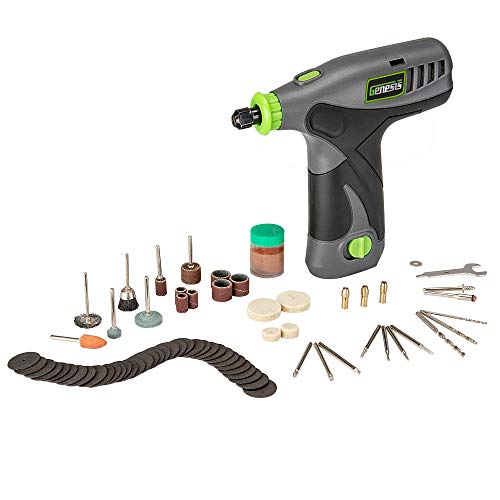 Genesis GLRT08-B 8V Variable Speed Rotary Tool with Removeable Lithium-Ion Battery Pack, Charging Stand, 120-Volt ETL Wall Adapter, and 64-Piece Universal Accessory Set