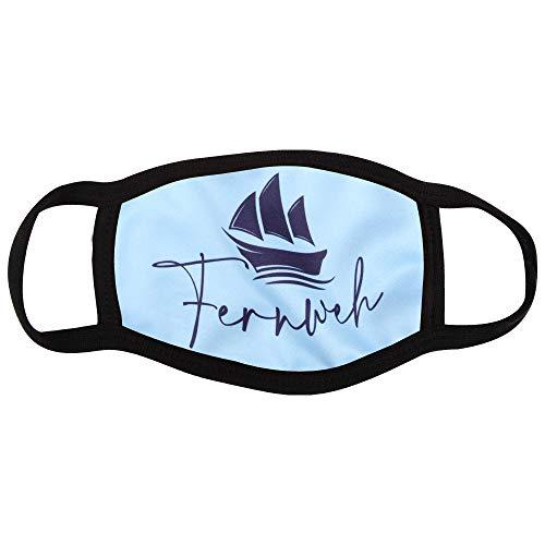 Shirt-Panda Stoffmaske mit Sprüchen · Maske mit wechselbarem PM2.5 Filter · Mundschutz mit lustigen Motiven und Mustern · waschbarer Mund- und Nasenschutz · Fernweh (Hellblau)