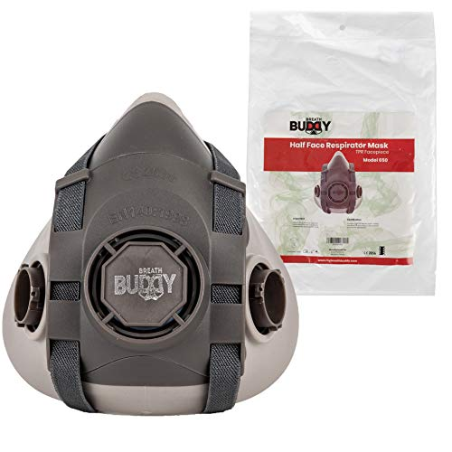 Breath Buddy Half Face Respirator Mask | Reusable Professional Breathing Protection Against Dust, Particle, Woodworking and Organic Vapors & Fumes | Perfect For Painters and DIY Projects