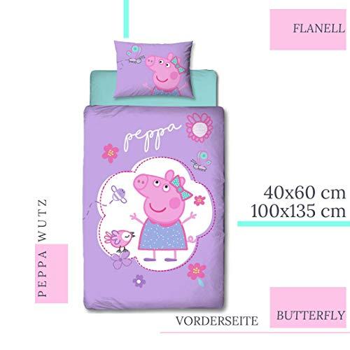 Character World Peppa Beddengoed voor meisjes, flanel, kinderbeddengoed Peppa Pig Butterfly · omkeerbaar beddengoed · kussensloop 40 x 60 + dekbedovertrek 100 x 135 cm - ritssluiting