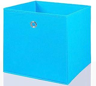 Mixibaby Étagère de rangement pliable boîte de rangement panier, bleu clair, Lot de 4