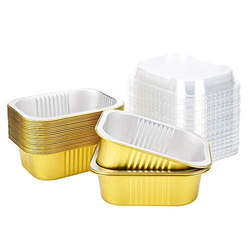 Disposable Loaf Pan with Lid, Beasea 25 Pack 4.7x3.6 Inch Mini Loaf Pans Aluminum Foil Bread Pans Bread Loaf Pans Mini Loaf Baking Pans Loaf Bakeware for Baking