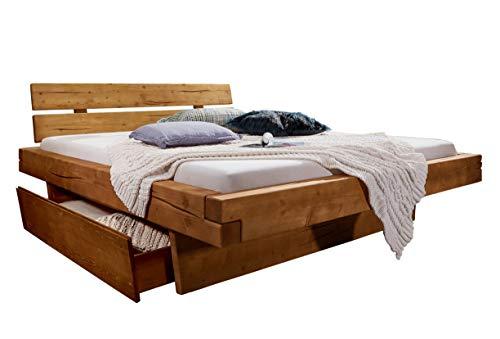 SAM Balkenbett Bennet 180x200cm, Fichte honigfarben, Holzbett massiv, gebeizt + geölt, mit 2 Bettkästen, geteiltes Kopfteil
