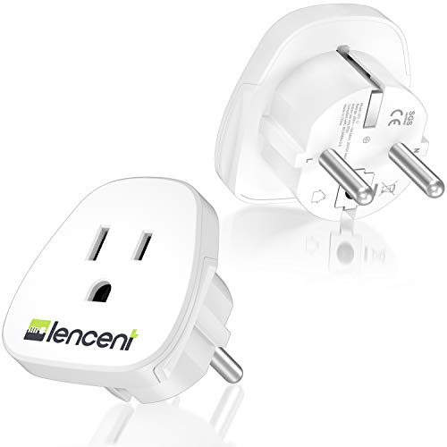 LENCENT 2X Adaptador de Enchufe de USA a Enchufe Europeo,...