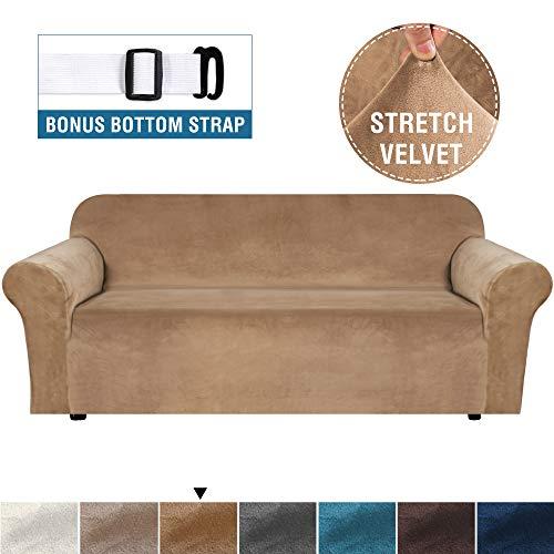 Real Velvet Plush Sofa Cover, Sofa Slipcover for 3 Cushion Couch Velvet High Stretch Sofa Cover/Slipcover(3 Seater, Gepäck)