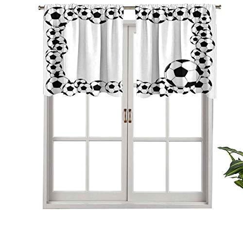 Hiiiman Cortinas cortas, protección de privacidad, monocromáticas, marco de fútbol, diseño de ilustración, juego de 1, 106,7 x 45,7 cm, cortinas de ventana para baño, cocina, sala de estar