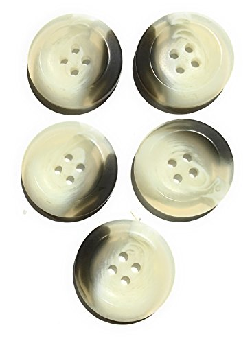 5 Ivory Brown Buttons Marbelized Set- 1