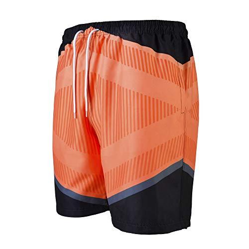 VINTAGE BASICS Badehose für Herren - Badeshorts Schnelltrocknend - Schwimmhose mit Taschen, Innenhose und Kordel Orange L