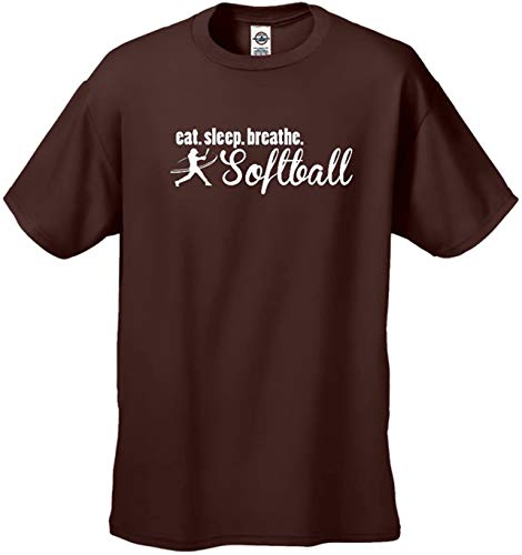 Eat Sleep Breathe Softball Softball Player Unisex Short Sleeve T-Shirt Fastpitch Slowpitch Funny Girls Ladies Tee-Brown-4Xl