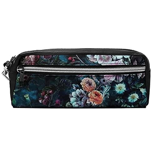 Estuche de cuero para cosméticos, bolsa multiusos con cremallera de metal, tamaño de bolsillo, lápiz cosmético, flores coloridas, Black-colorful Flowers1, 20*10*5.5,