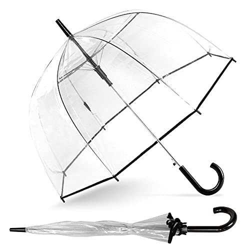 """ShedRain Clear Bubble Umbrella – See Through, Rain & Windproof Umbrella - Perfect for Weddings, Prom, Graduation and Outdoor Events - Automatic Open, Silver Crook Handle, Clear Dome with a 52"""" Arc (Clear)"""