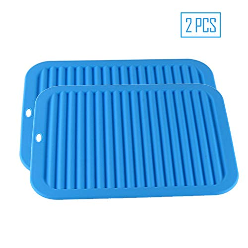 Ruosaren Grote Siliconen Pot Houder Driewieler Mat Siliconen Drogen Mat Waterdichte Warmte Isolatie Antislip Multi-Purpose, Rood,2 PCS Blauw