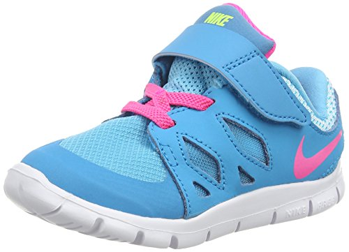 Nike Unisex Kinder Free 5.0 (TDV) Lauflernschuhe, Blau (Blue Lagoon/Pink Pow-White-VLT 401), 27 EU