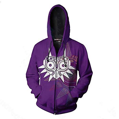 Link Costume Majoras Mask Hoodie Cosplay Sweatershirt Zip up Jacket Coat Purple L
