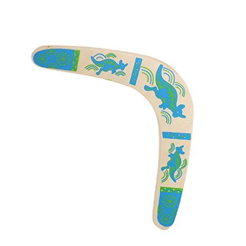 Lamdoo Känguru-Überwurf, V-förmig, Bumerang, Fliegenscheibe, Überwurf, für den Außenbereich, holz, blau, 35x18x0.5cm