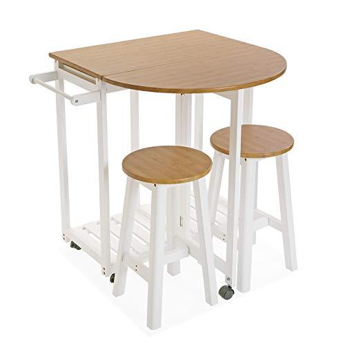Versa Borrby Set de mesa de Comedor y dos sillas, Set de 3 piezas, Medidas (Al x L x An) 84 x 35 x 74 cm, Madera y Metal, Color Blanco y marrón