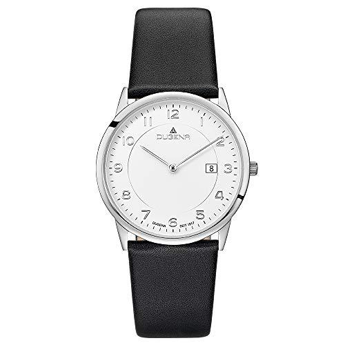 DUGENA Herren-Armbanduhr Modena XL, Quarz, Edelstahlgehäuse, gehärtetes Mineralglas, Lederarmband, Dornschließe, 3 bar (schwarz/Silber/weiß)