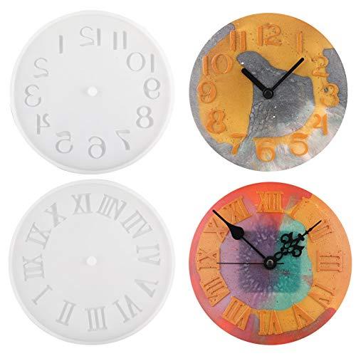 GOTH Perhk 2 Stück Uhr Harzformen, Kreative Wanduhr Silikonform Resin Gießform für DIY Kunsthandwerk Dekoration (Stil 2)