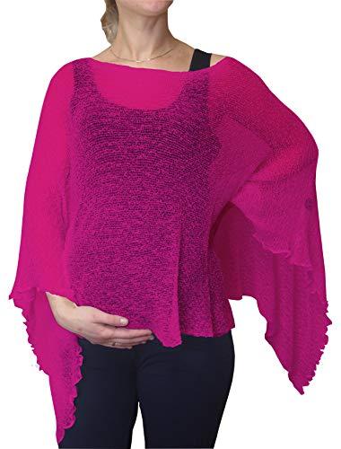 Ikat Dames Maternité Grossesse Cap Crochet Dentelle enTricot Ailes de Chauve-Souris Poncho Taille Unique (Taille Unique, Hot Pink)