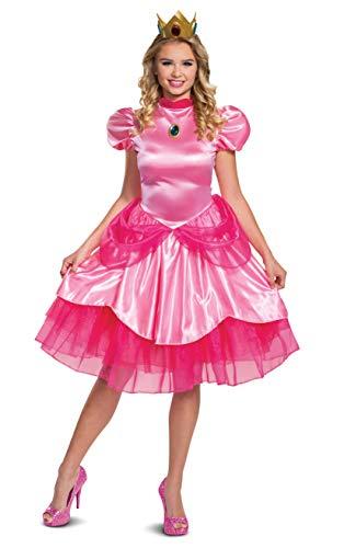 Disguise Disfraz de Nintendo Super Mario Bros Princesa Peach Deluxe para adultos, color rosa, mediano (8-10)