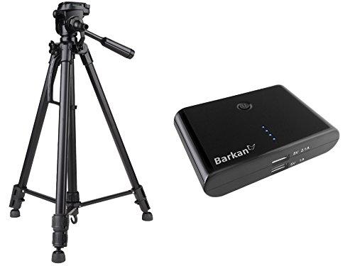 Foto video statief incl. statieftas in set met externe powerbank 8800 mAh voor Canon EOS 1300D 700D 760D 80D 100D Nikon D7200 D500 D610 D5500 D5300 D3300 D3200 Sony Alpha 6500 6300 6000 5100