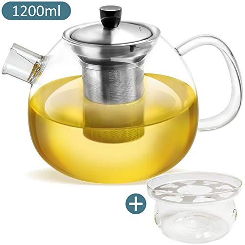 Teekanne aus Glas – 1200 ml Fassungsvolumen – herausnehmbarer Edelstahlfilter & Ausguss-Filter – hitzebeständiges Borosilikatglas – Plus: Gratis Stövchen zum Warmhalten