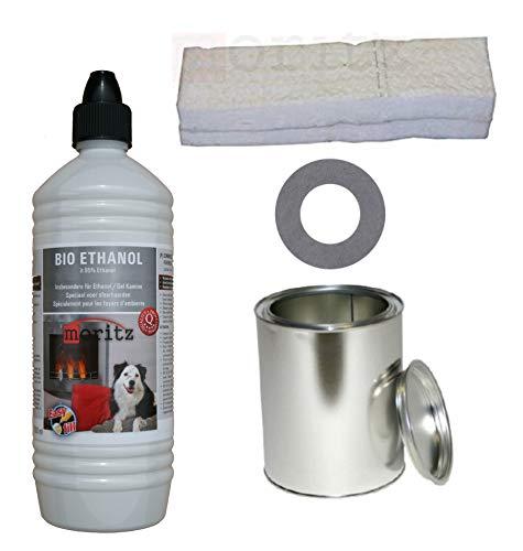 Moritz Starter Set 1 x 1000 ml Bio Ethanol + 1x Blechdose 250 ml mit Deckel + 1x Watte/Keramikwolle + 1x Sparplatte für Brenner Kamin Ofen Sicherheitsbrenner Brennpaste