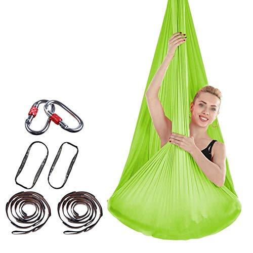 ZHJIUXING SF Hanging Chair Stand,Yoga Flying Hammock Swing Aerial-Yoga Hammock Silk Fabric For Yoga Anti-Gravity Pilates, Green