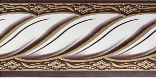 Dundee Deco BD5015 Abstrakte Tapeten Bordüre, viktorianisches Weißgold, Mauve Seil, Tapetenbordüre Retro-Design, Rolle 10 m x 5 cm, selbstklebend