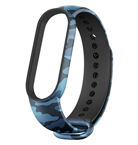 Sounce Pack of 2 Band Strap Compatible for Mi Band 5 (Camouflage Blue and Camouflage Green)