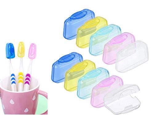Zahnbürste Kopf Deckel,10 Pack Zahnbürste Kopfabdeckung Tragbare Hygiene Anti-Bakterielle Pinsel Schutzkappen, Anti-Staub, antibakteriell, Zahnbürstenschutzhülle,für Zuhause und Reisen Mischfarbe.
