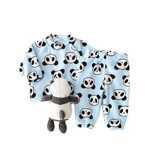 Panda Baby Mädchen Hausanzug Flanell Langarmshirt und Hose Kinder Gemütlich Pullover Tops Baby Jungen Schlafanzüge 2 Teilig MorgenmantelWinter Pyjama 1-3 Jahre (80 / herstellergröße 80#, blau)