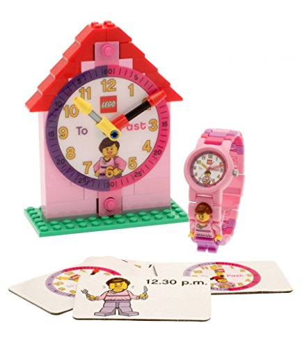 LEGO Time Teacher Pink Mini Figure Link Watch And Buildable Clock