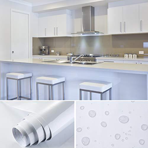 Cahomo 4 m x 0,4 m PVC-Rückseite selbstklebend Küche Tapeten Aufkleber Aufkleber für Schrank Möbel Kleiderschrank Tür Abdeckung + Schaber, weiß, 4M x 0.4M