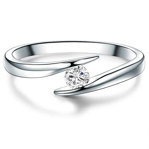 Tresor 1934 Damen-Ring Verlobungsring Sterling Silber 925 mit Topas Solitär-Ring - Topas-ring für Hochzeit Edelstein-Ring gedreht Twist