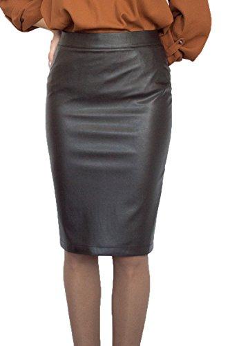Stilvoller Damen Hohe Taille lässig Rock Bleistift Knielang Kunstleder Braun Inner Futter, Größe EU 36 38 40 42 44 46 48 50 (38)