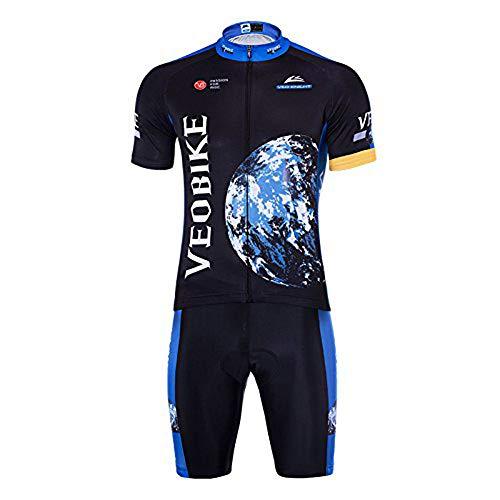 VEOBIKE Uomo Discovery Ciclismo Racing Wear Breve Tuta a Maniche Corte da Uomo con Imbottitura in Gel Pantaloncini Pantaloni Corti