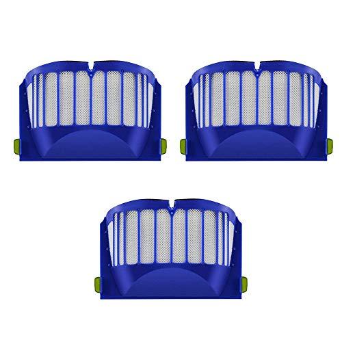 MIRTUX Kit 3 FILTRI Compatibile con ROOMBA 600 Confezione di filtri di Ricambio Serie 6. Ricambio di Sostituzione con Tre filtri.