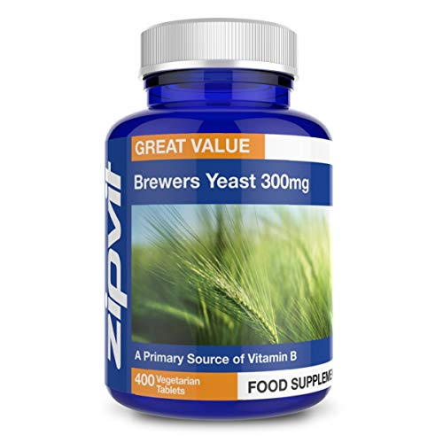 Brewers Yeast 300mg, 400 Vegetarian Tablets. Natural Source of B Vitamins. GMP Manufactured.