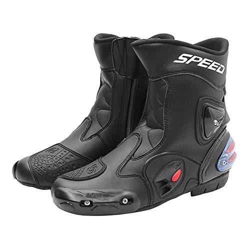 MRDEAR Botas de Moto de Cuero Hombre, Ventilación Ajustable, Botas de Motocross Impermeables Botas Protectoras para Motociclismo, 3 Colores (44 EU,Negro)