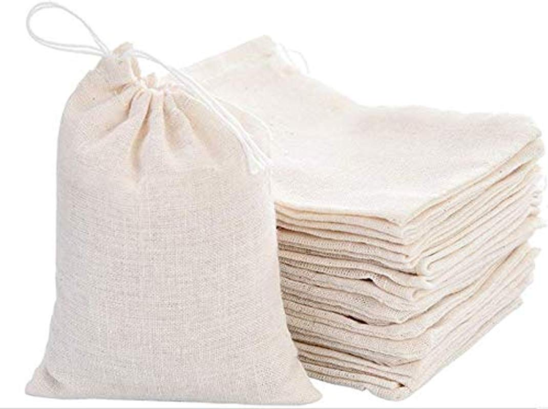 KUPOO 20PCS Percent Cotton Bags Drawstring Muslin Bags For Wedding Party Favor Tea Jewelry Christmas And And DIY Craft 8x10 Inch