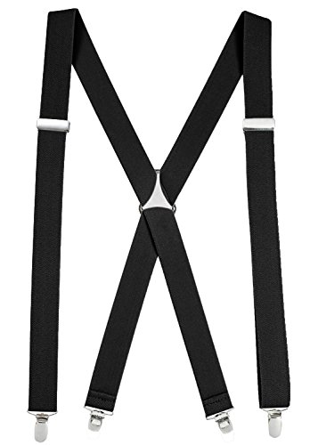 Suspenders for Women Elastic X-back Adjustable Straight Clip on - Pin Clip Black (Regular 46' Long)