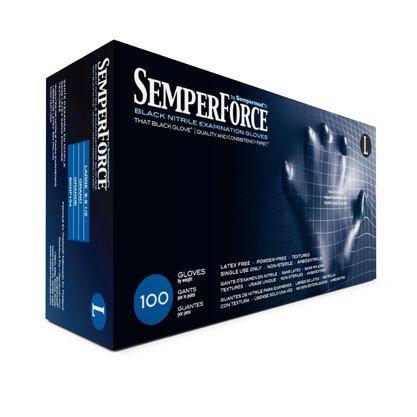 Sempermed SemperForce Black Powder Free Exam Medical Nitrile Gloves, X-Large (10 Boxes: 1000 Case)