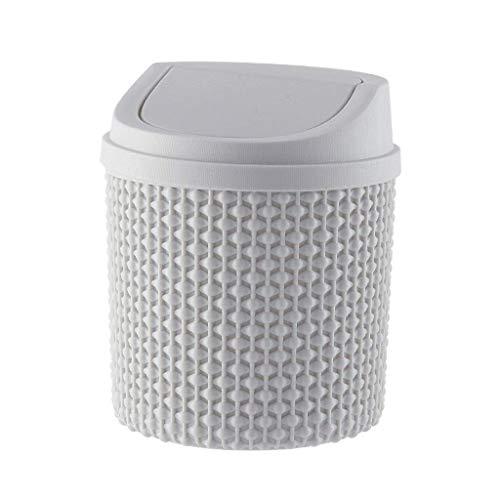 JiangKui Reciclaje de Botes de Basura Escritorio Mini Cubo de Basura Simple con Tapa Protección Ambiental Material Pp Cubo de Basura Cubierta Superior Extraíble Y Conveniente para Limpiar Y Ahorrar E