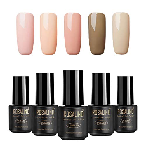 ROSALIND color nude UV esmalte en gel para uñas semi-permanente Manicura para uso personal y profesional Top coat Base coat 5 Botellas 7ml